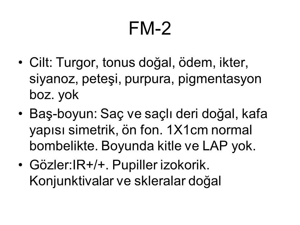 FM-2 Cilt: Turgor, tonus doğal, ödem, ikter, siyanoz, peteşi, purpura, pigmentasyon boz. yok.