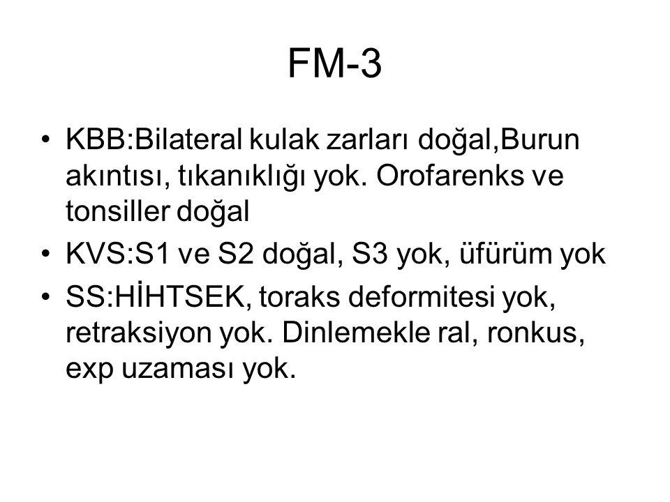 FM-3 KBB:Bilateral kulak zarları doğal,Burun akıntısı, tıkanıklığı yok. Orofarenks ve tonsiller doğal.
