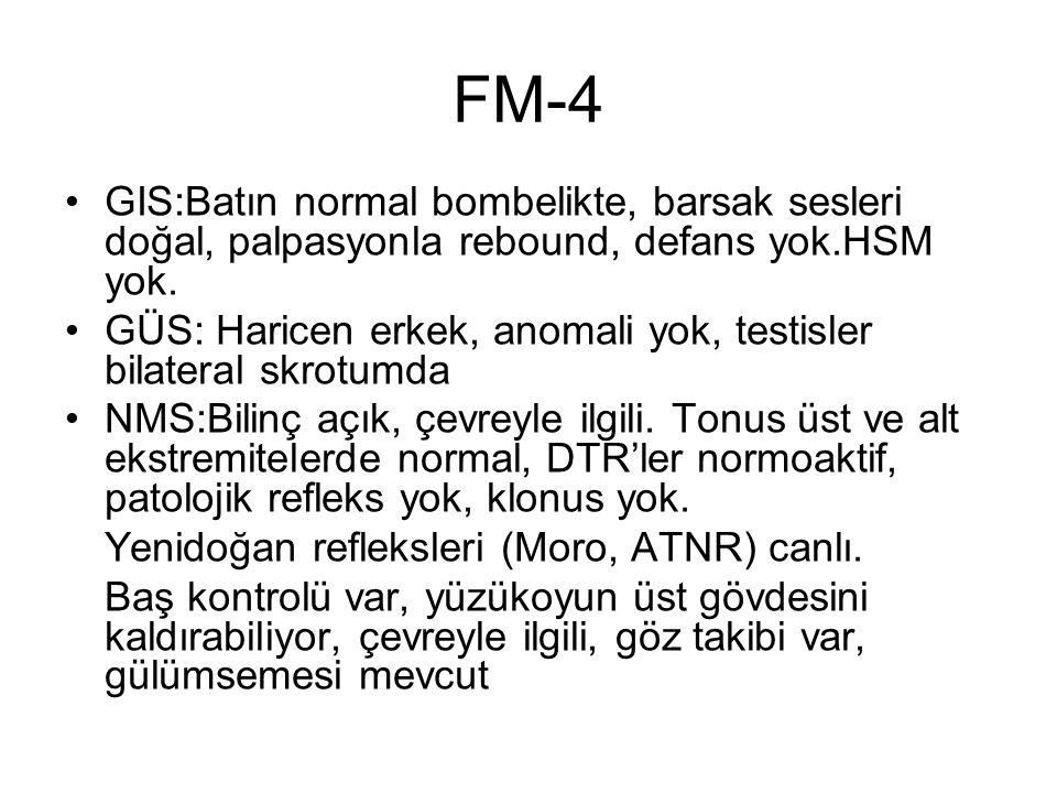 FM-4 GIS:Batın normal bombelikte, barsak sesleri doğal, palpasyonla rebound, defans yok.HSM yok.