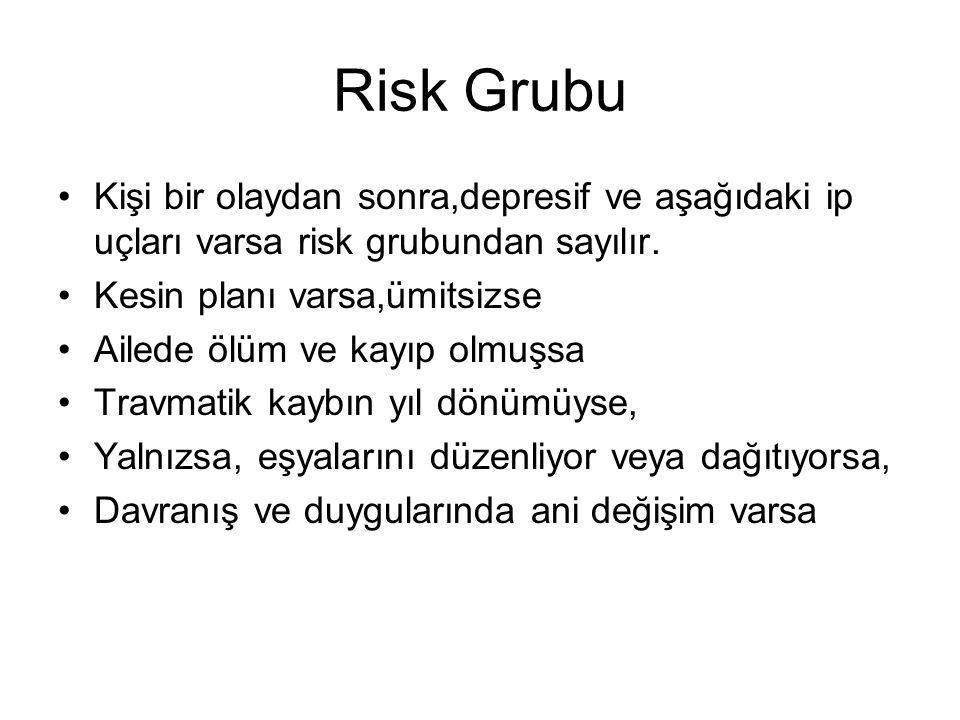 Risk Grubu Kişi bir olaydan sonra,depresif ve aşağıdaki ip uçları varsa risk grubundan sayılır. Kesin planı varsa,ümitsizse.