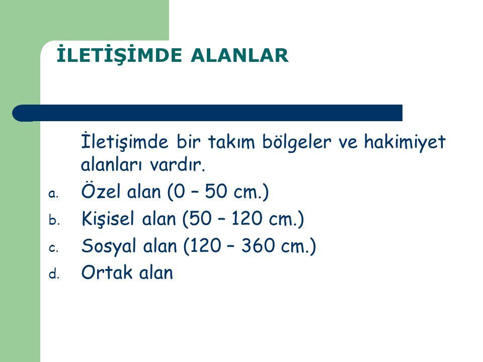 İLETİŞİMDE ALANLAR İletişimde bir takım bölgeler ve hakimiyet alanları vardır. Özel alan (0 – 50 cm.)