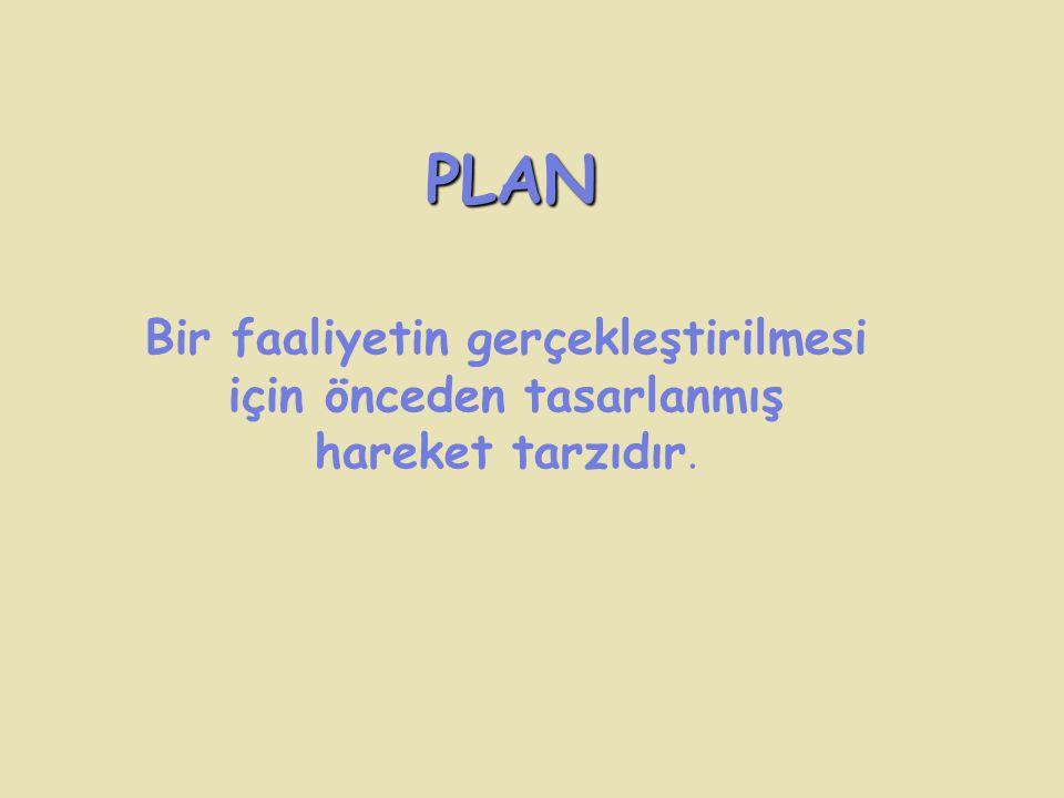 PLAN Bir faaliyetin gerçekleştirilmesi için önceden tasarlanmış hareket tarzıdır.