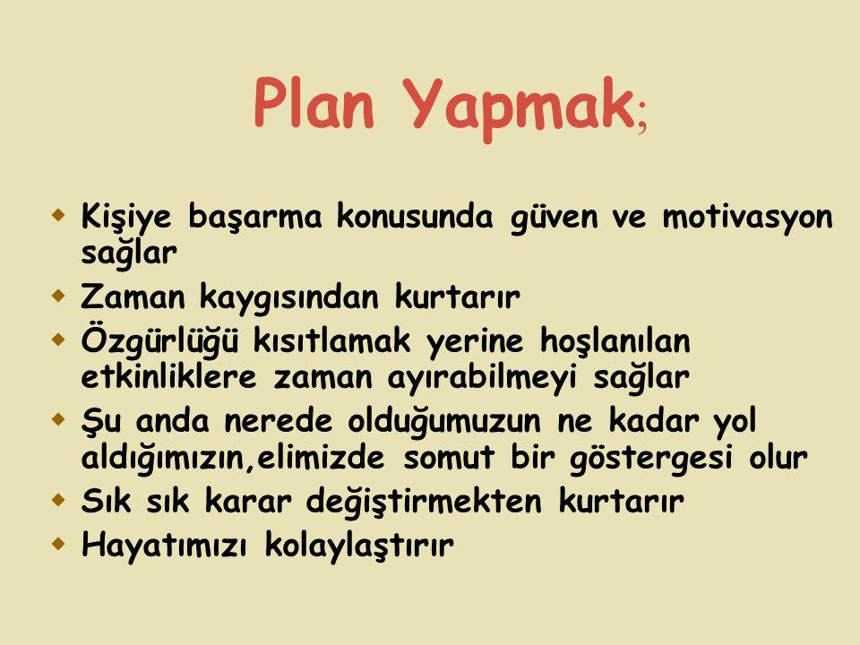 Plan Yapmak; Kişiye başarma konusunda güven ve motivasyon sağlar