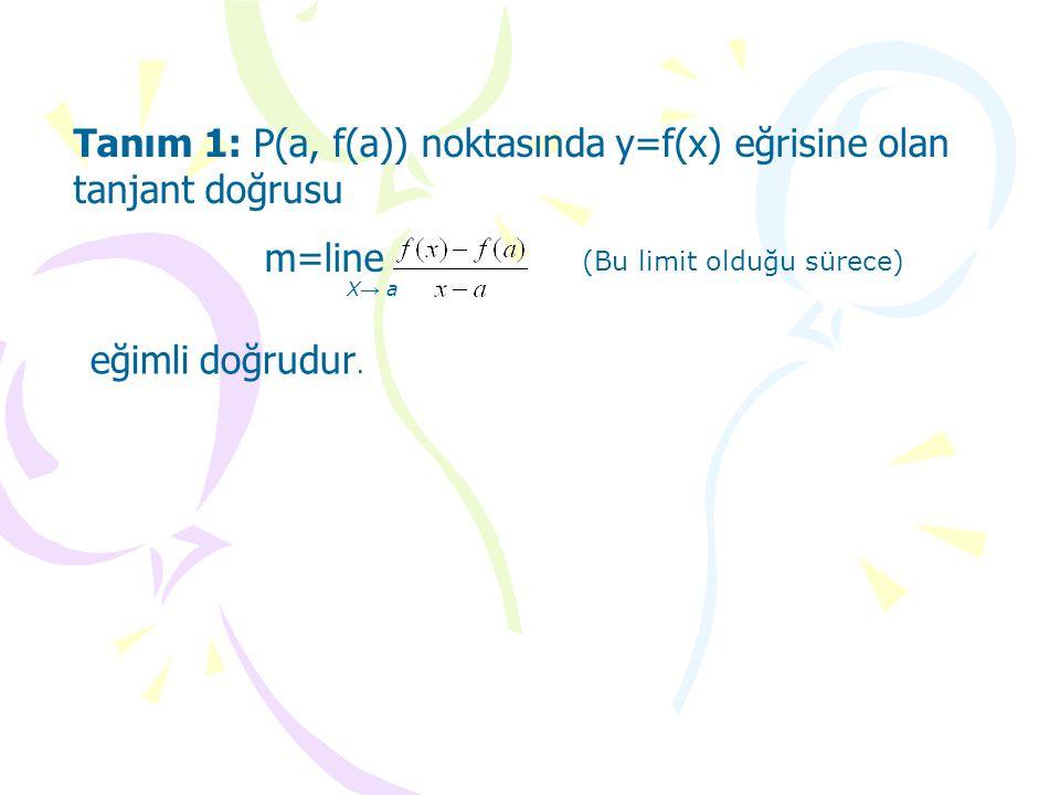 Tanım 1: P(a, f(a)) noktasında y=f(x) eğrisine olan tanjant doğrusu