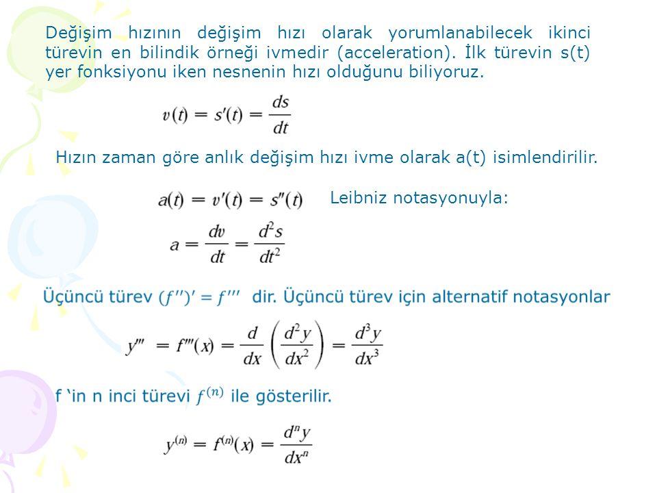 Değişim hızının değişim hızı olarak yorumlanabilecek ikinci türevin en bilindik örneği ivmedir (acceleration). İlk türevin s(t) yer fonksiyonu iken nesnenin hızı olduğunu biliyoruz.