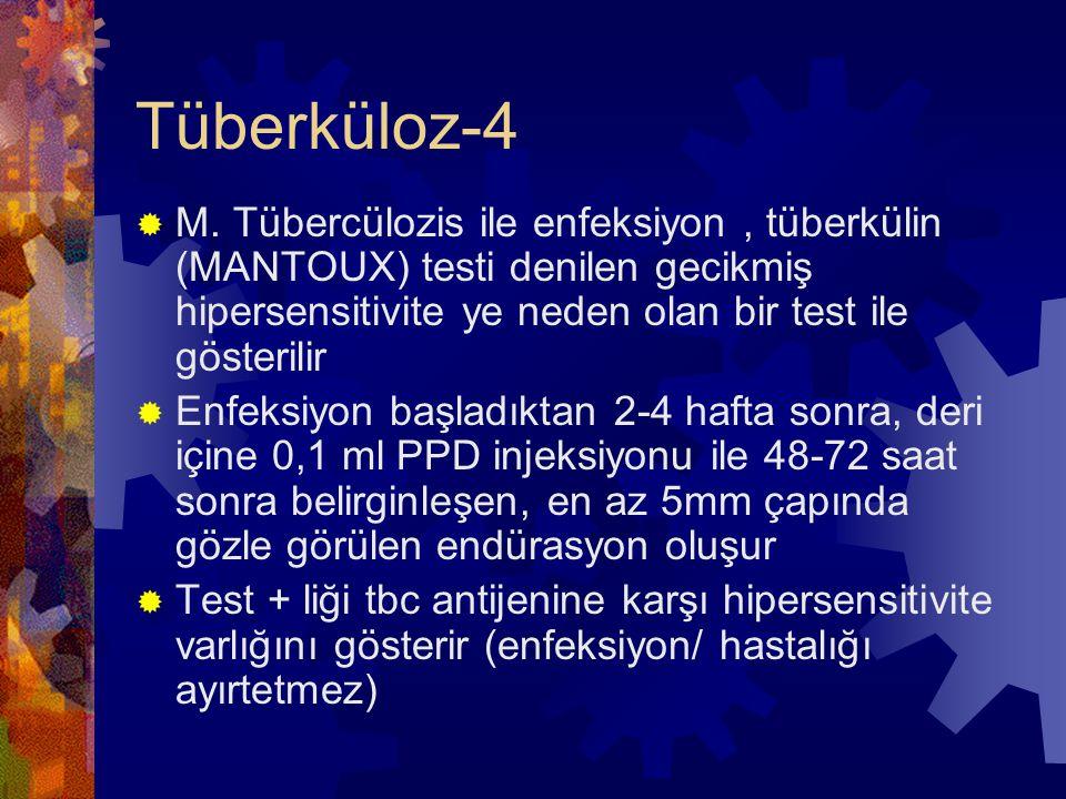 Tüberküloz-4 M. Tübercülozis ile enfeksiyon , tüberkülin (MANTOUX) testi denilen gecikmiş hipersensitivite ye neden olan bir test ile gösterilir.