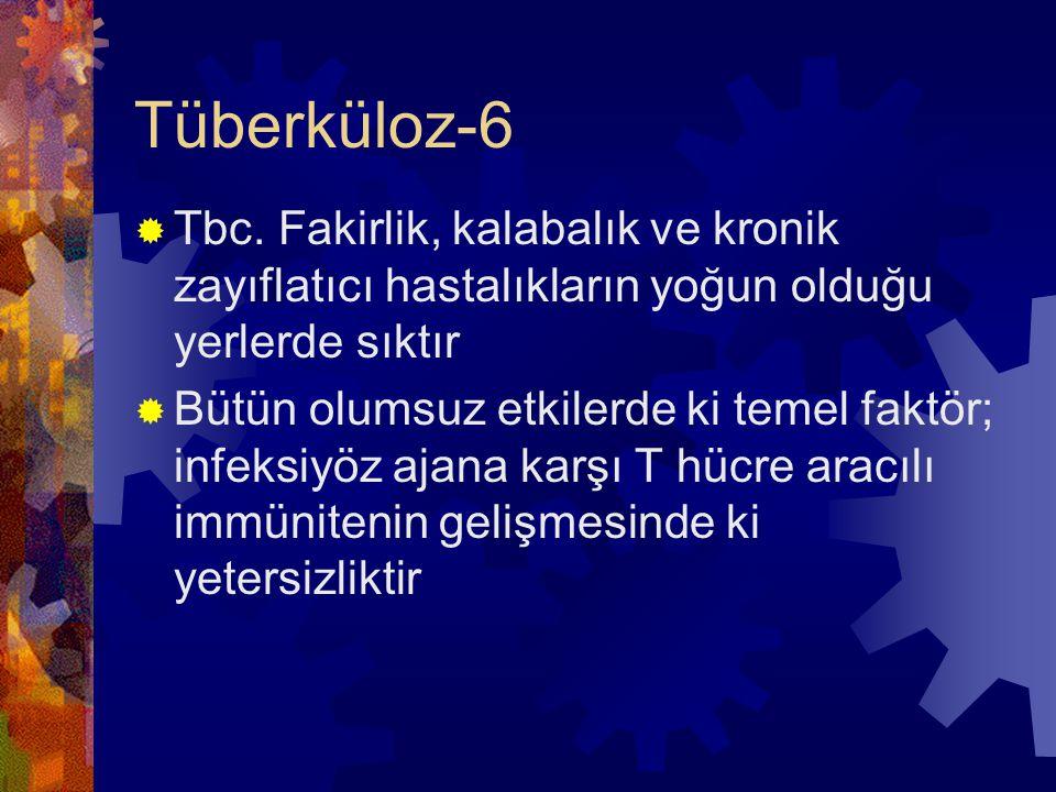 Tüberküloz-6 Tbc. Fakirlik, kalabalık ve kronik zayıflatıcı hastalıkların yoğun olduğu yerlerde sıktır.