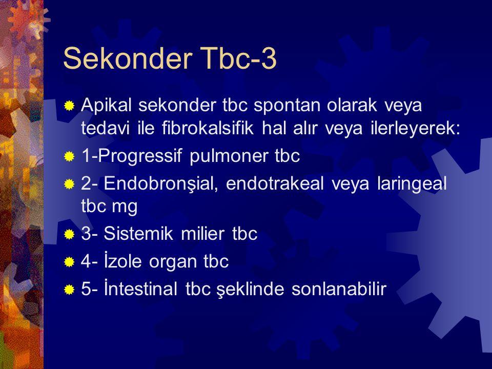 Sekonder Tbc-3 Apikal sekonder tbc spontan olarak veya tedavi ile fibrokalsifik hal alır veya ilerleyerek: