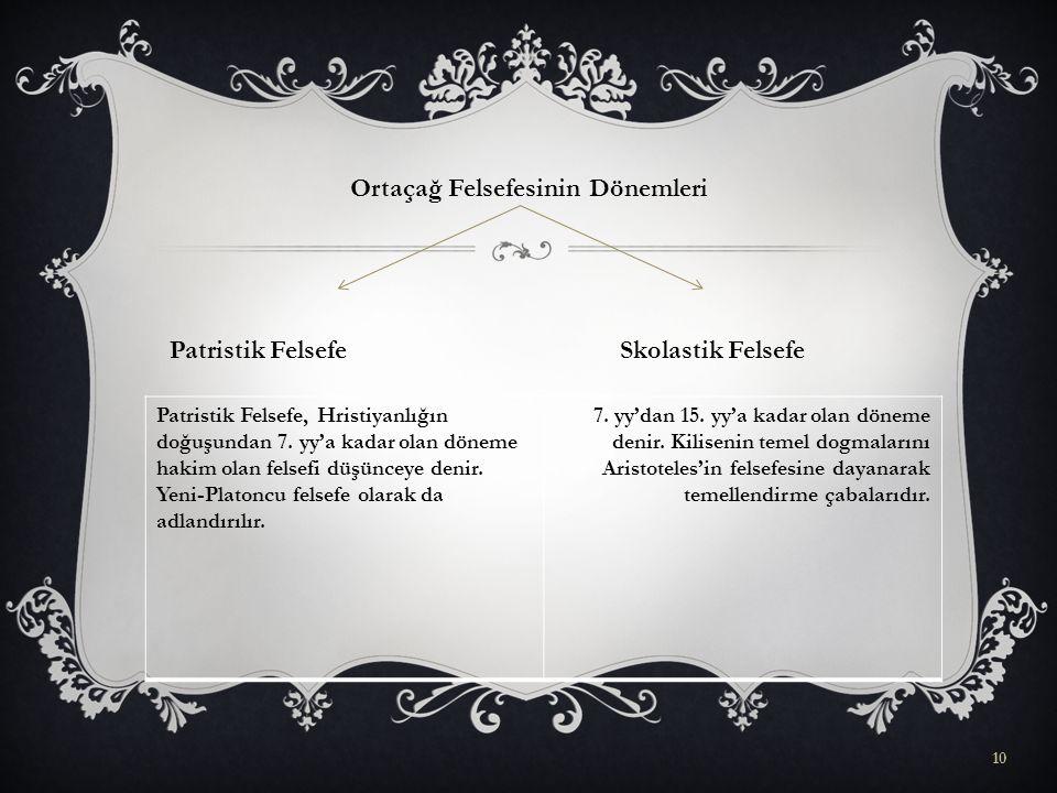 Ortaçağ Felsefesinin Dönemleri Patristik Felsefe Skolastik Felsefe