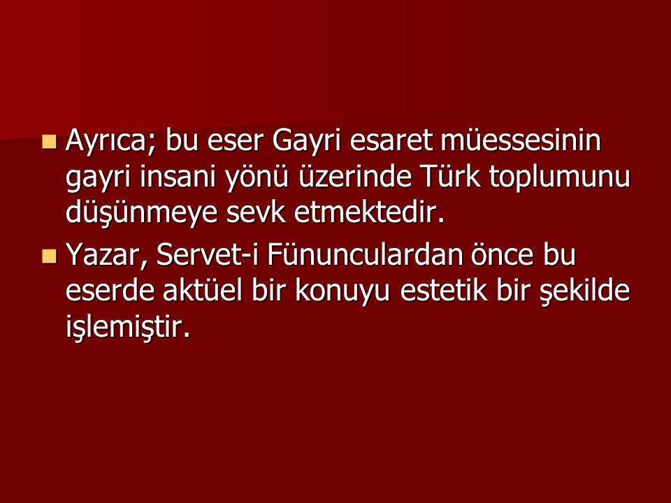 Ayrıca; bu eser Gayri esaret müessesinin gayri insani yönü üzerinde Türk toplumunu düşünmeye sevk etmektedir.