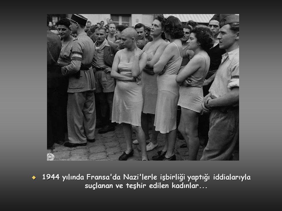 1944 yılında Fransa da Nazi lerle işbirliği yaptığı iddialarıyla suçlanan ve teşhir edilen kadınlar...