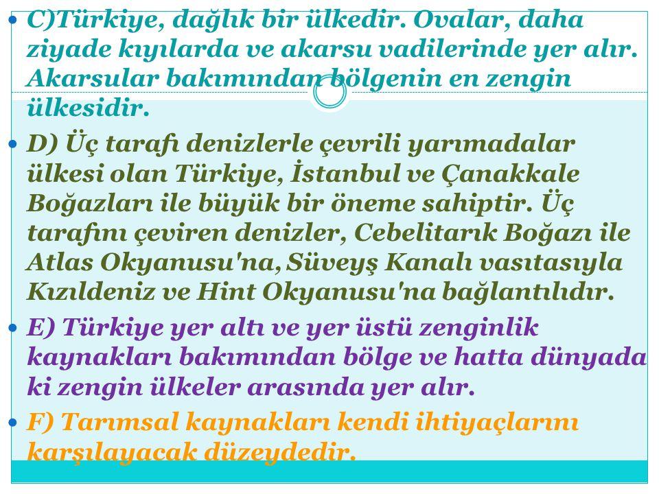C)Türkiye, dağlık bir ülkedir