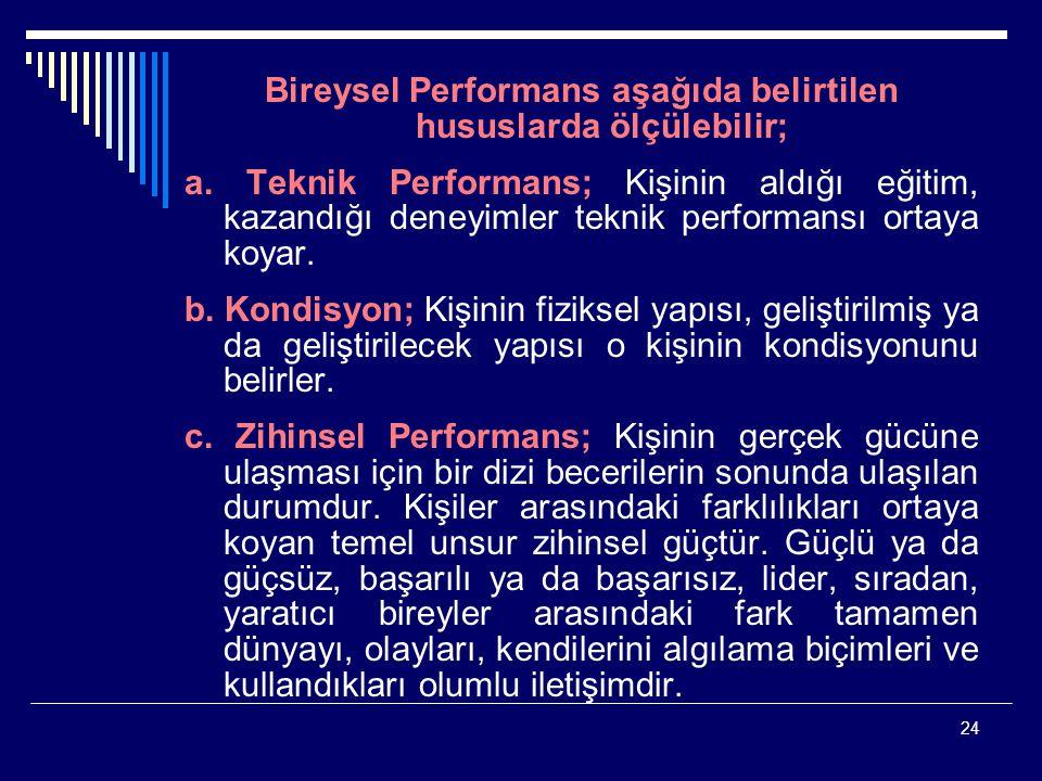 Bireysel Performans aşağıda belirtilen hususlarda ölçülebilir;