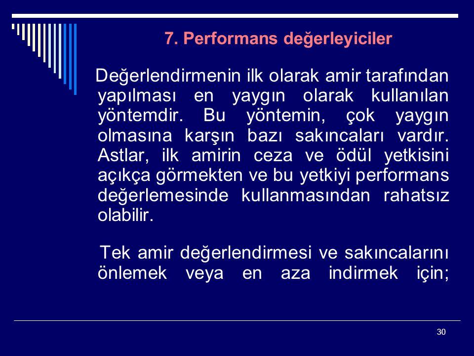 7. Performans değerleyiciler