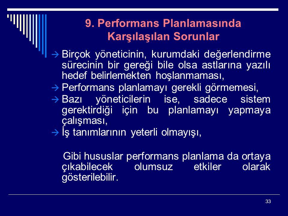 9. Performans Planlamasında Karşılaşılan Sorunlar