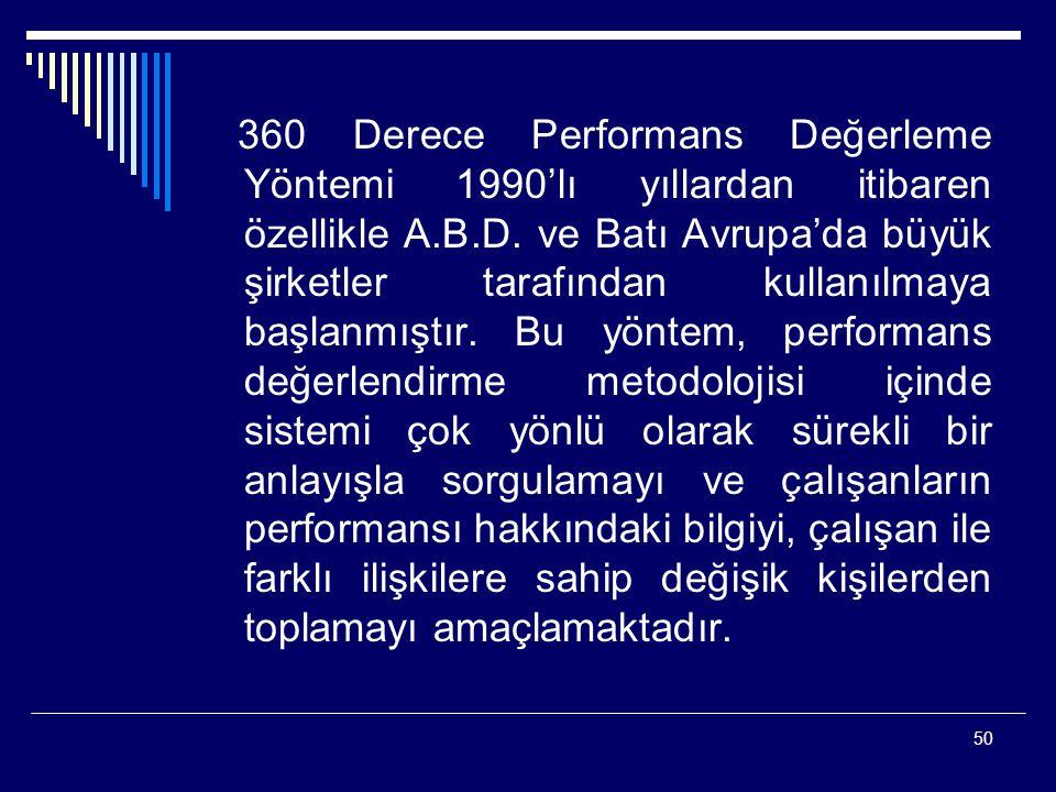360 Derece Performans Değerleme Yöntemi 1990'lı yıllardan itibaren özellikle A.B.D.