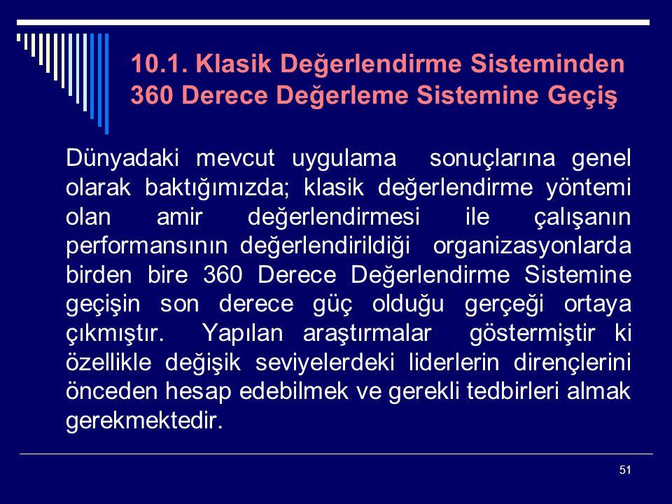 10.1. Klasik Değerlendirme Sisteminden 360 Derece Değerleme Sistemine Geçiş