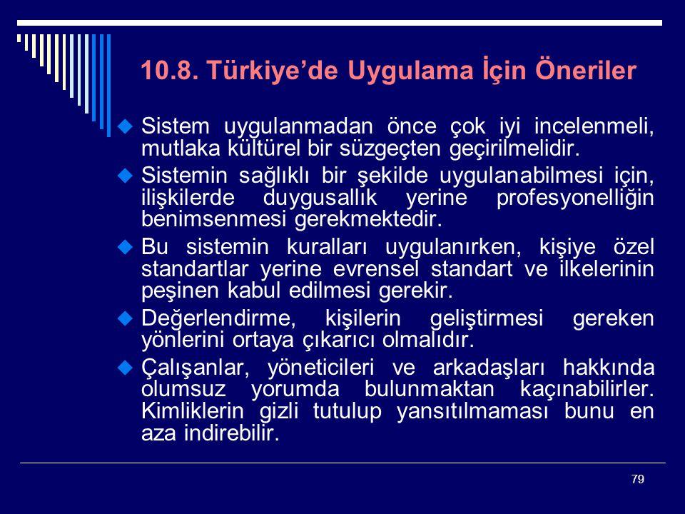 10.8. Türkiye'de Uygulama İçin Öneriler