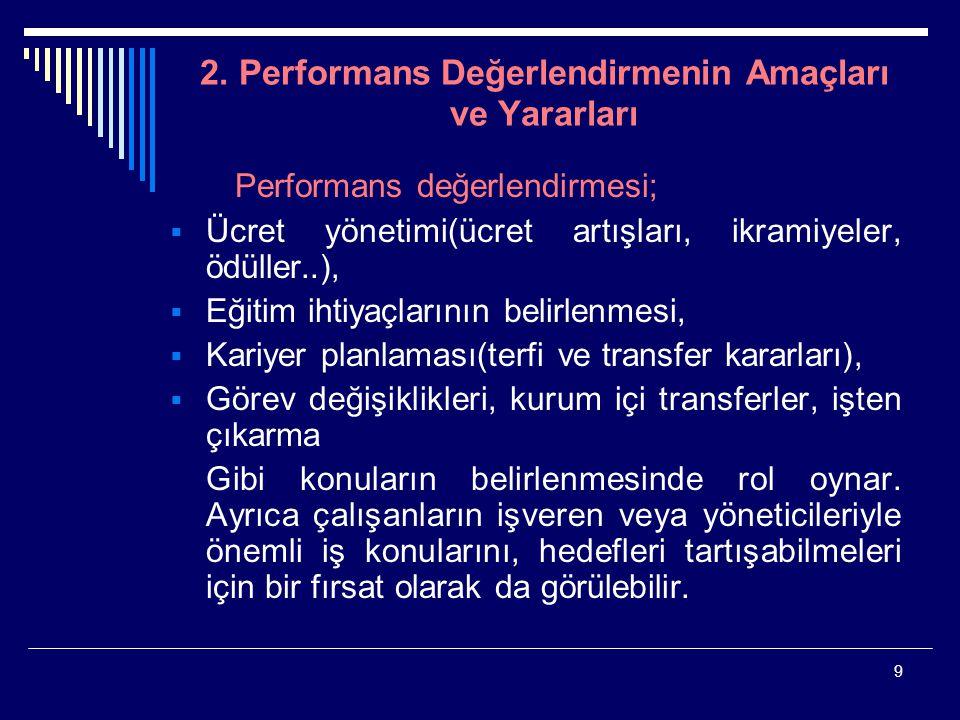 2. Performans Değerlendirmenin Amaçları ve Yararları