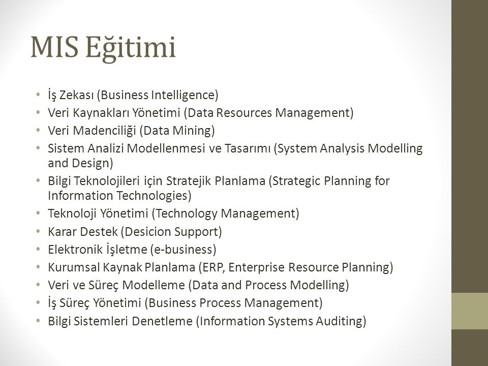 MIS Eğitimi İş Zekası (Business Intelligence)