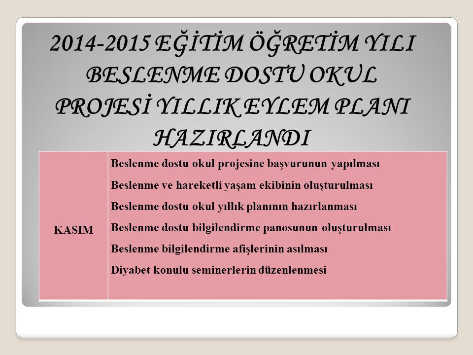 2014-2015 EĞİTİM ÖĞRETİM YILI BESLENME DOSTU OKUL PROJESİ YILLIK EYLEM PLANI HAZIRLANDI