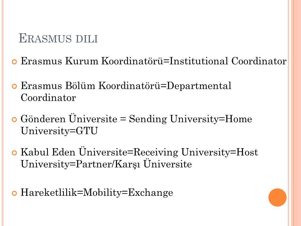 Erasmus dili Erasmus Kurum Koordinatörü=Institutional Coordinator