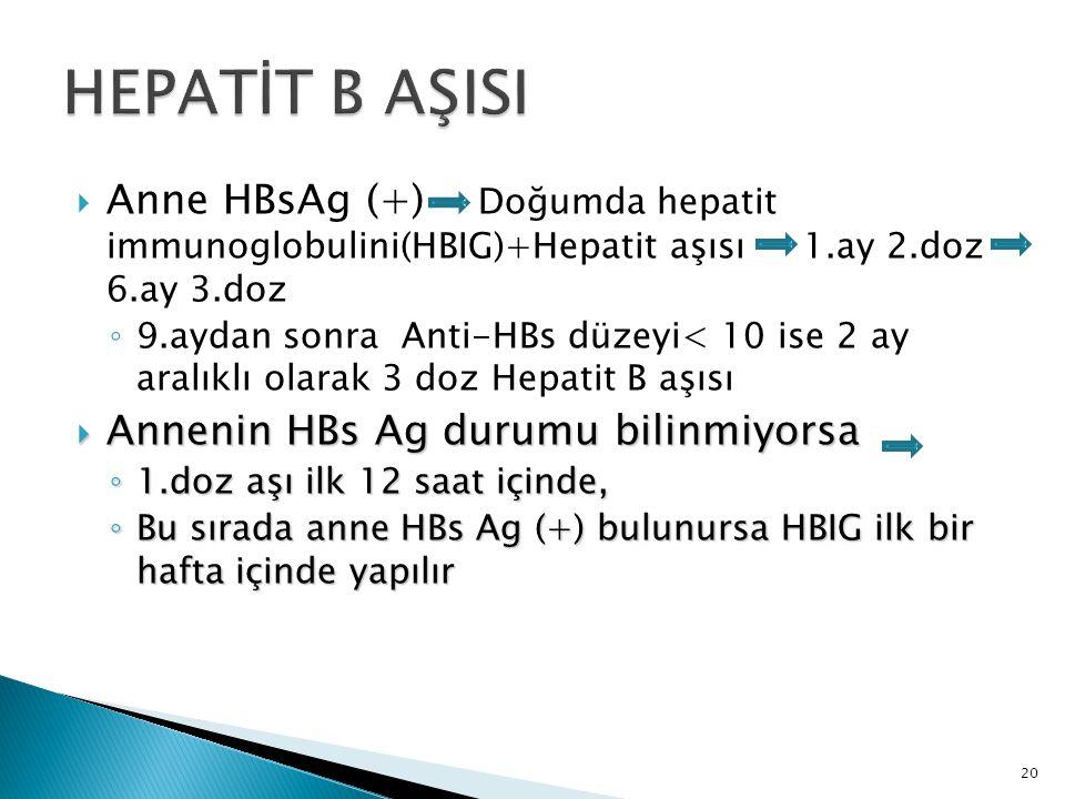 HEPATİT B AŞISI Anne HBsAg (+) Doğumda hepatit immunoglobulini(HBIG)+Hepatit aşısı 1.ay 2.doz 6.ay 3.doz.