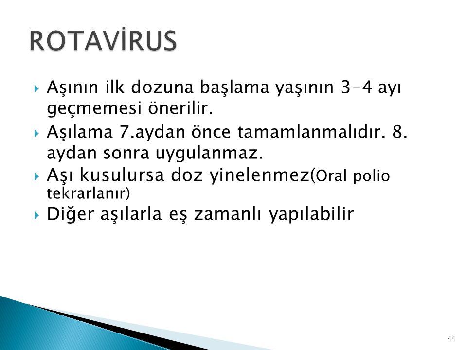 ROTAVİRUS Aşı kusulursa doz yinelenmez(Oral polio tekrarlanır)