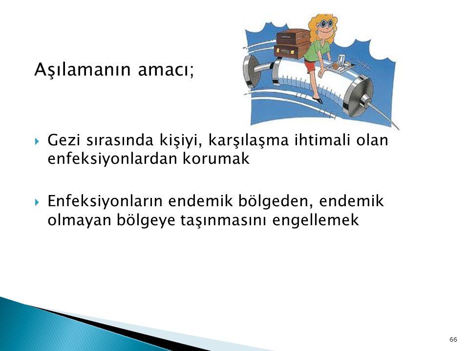 Aşılamanın amacı; Gezi sırasında kişiyi, karşılaşma ihtimali olan enfeksiyonlardan korumak.