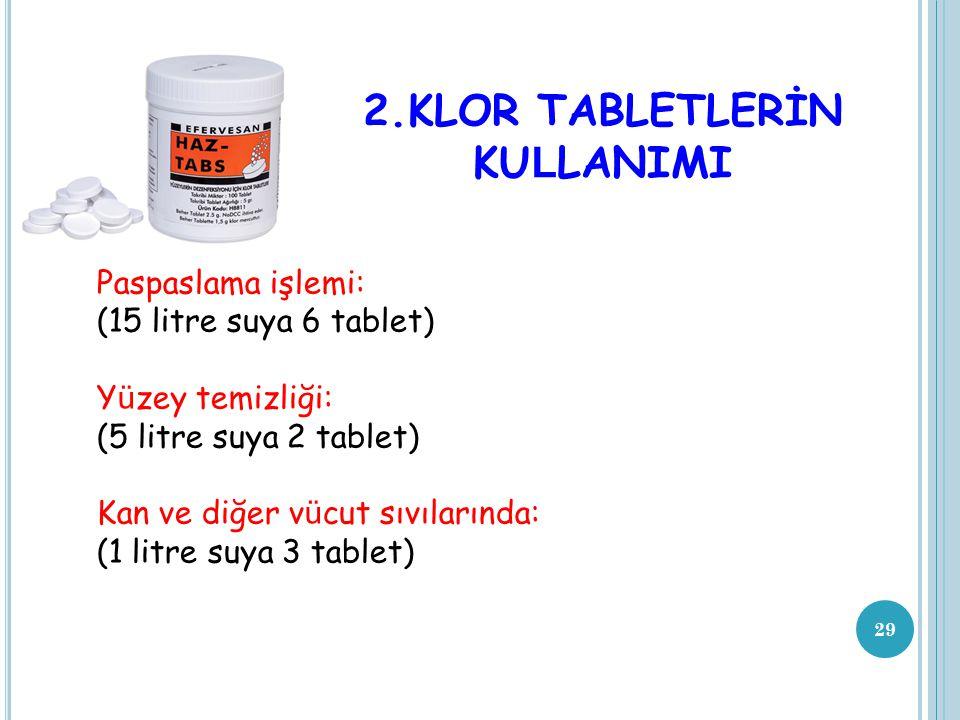 2.KLOR TABLETLERİN KULLANIMI