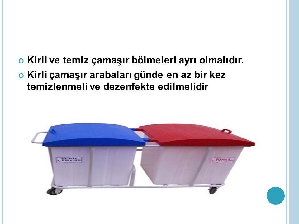 Kirli ve temiz çamaşır bölmeleri ayrı olmalıdır.