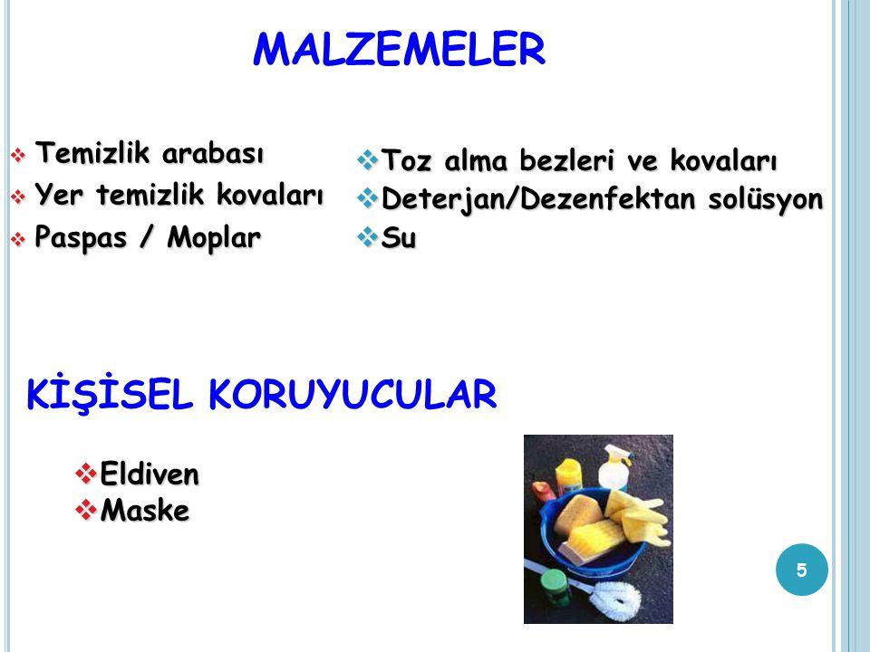 MALZEMELER KİŞİSEL KORUYUCULAR Eldiven Maske Temizlik arabası
