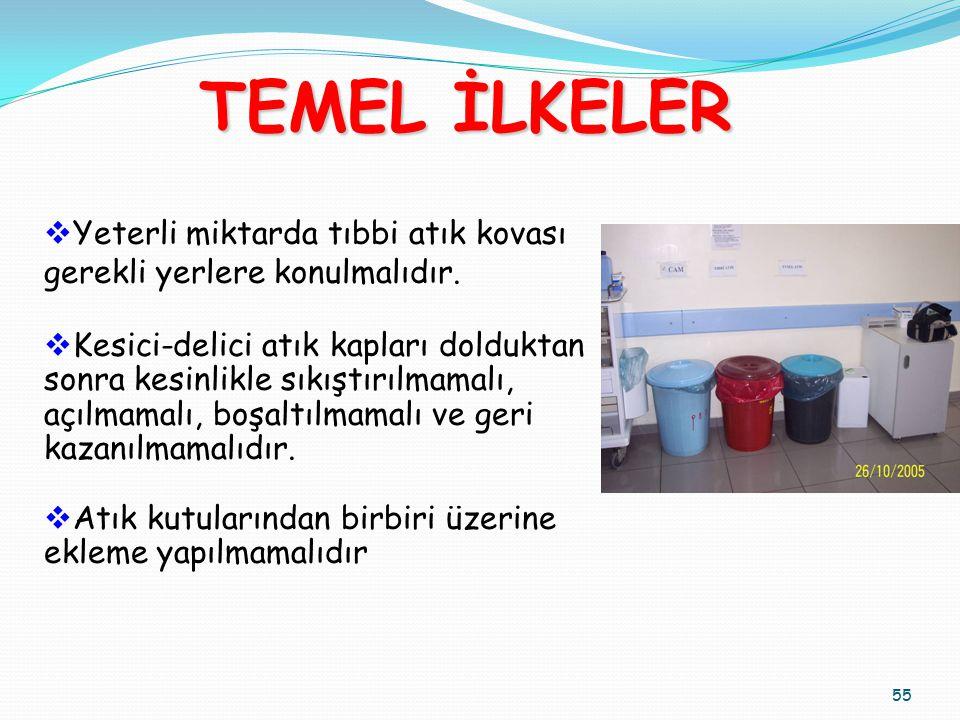 TEMEL İLKELER Yeterli miktarda tıbbi atık kovası gerekli yerlere konulmalıdır. Kesici-delici atık kapları dolduktan.