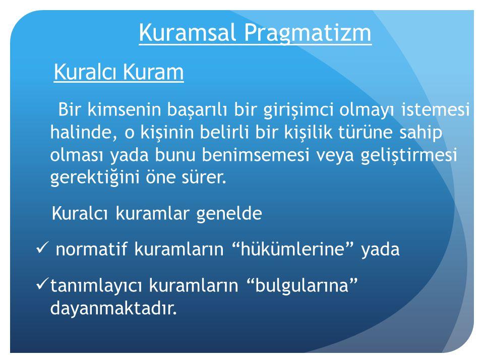 Kuramsal Pragmatizm Kuralcı Kuram.