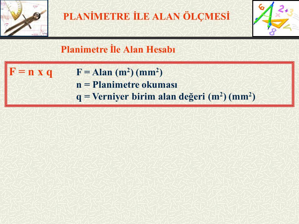 F = n x q F = Alan (m2) (mm2) PLANİMETRE İLE ALAN ÖLÇMESİ