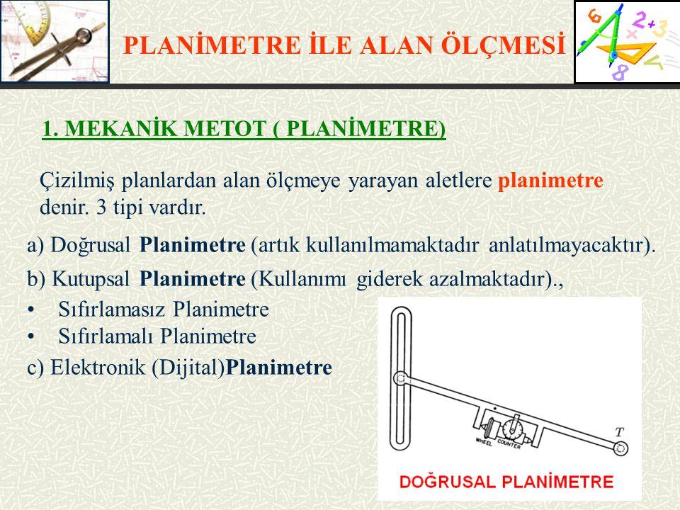 PLANİMETRE İLE ALAN ÖLÇMESİ 1. MEKANİK METOT ( PLANİMETRE)