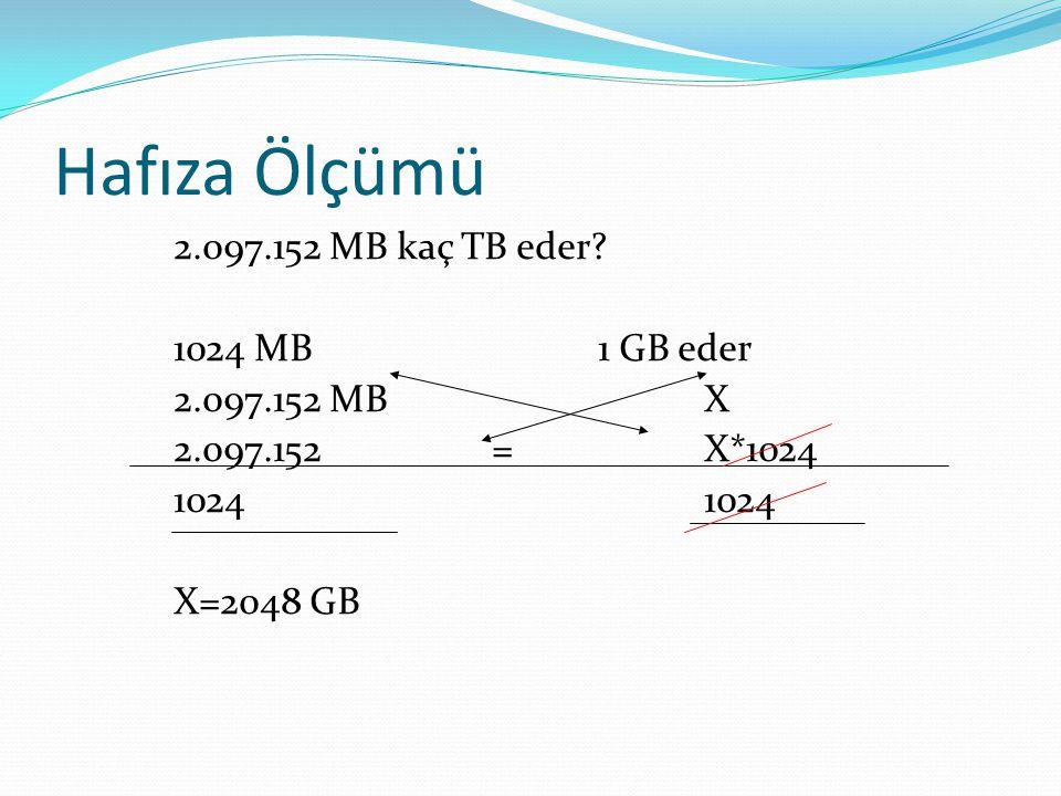 Hafıza Ölçümü 2.097.152 MB kaç TB eder.