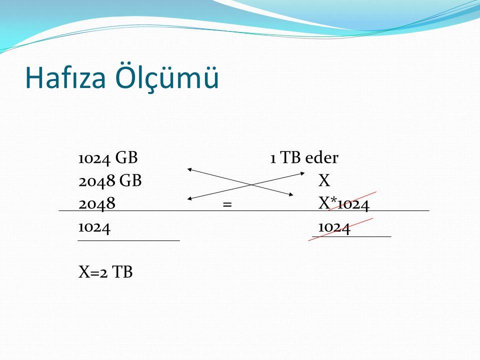 Hafıza Ölçümü 1024 GB 1 TB eder 2048 GB X 2048 = X*1024 1024 1024 X=2 TB