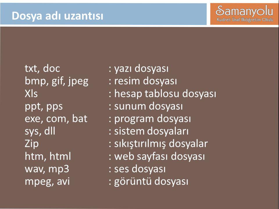 Dosya adı uzantısı txt, doc : yazı dosyası