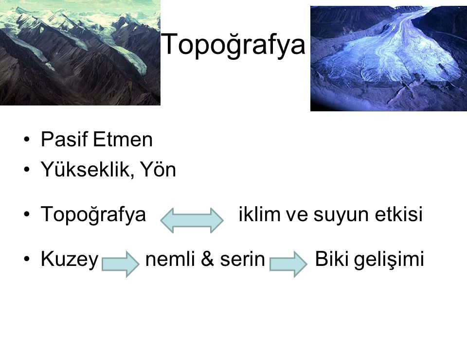 Topoğrafya Pasif Etmen Yükseklik, Yön Topoğrafya iklim ve suyun etkisi