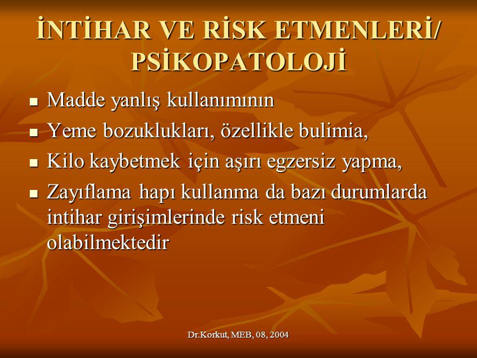 İNTİHAR VE RİSK ETMENLERİ/ PSİKOPATOLOJİ