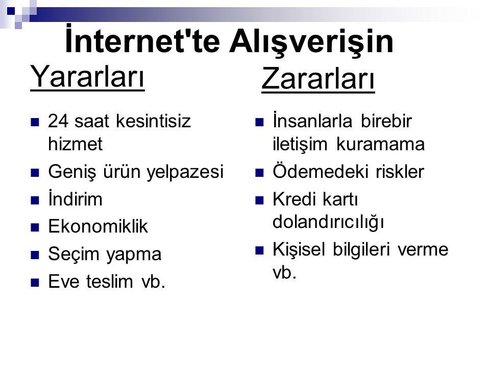 İnternet te Alışverişin