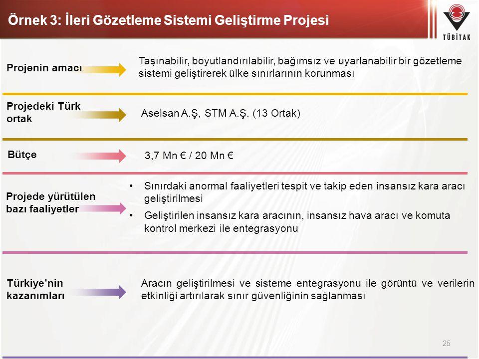 Örnek 3: İleri Gözetleme Sistemi Geliştirme Projesi