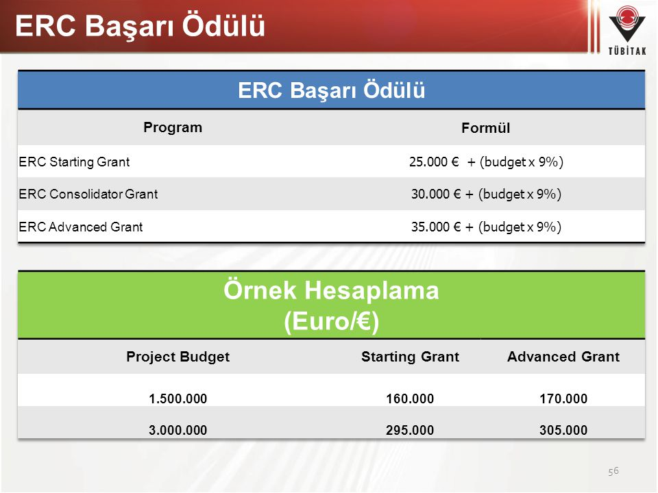 ERC Başarı Ödülü Örnek Hesaplama (Euro/€) ERC Başarı Ödülü Program