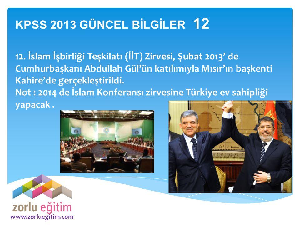 KPSS 2013 GÜNCEL BİLGİLER 12