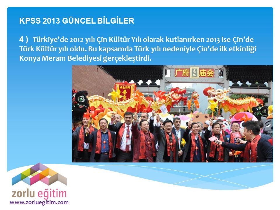 KPSS 2013 GÜNCEL BİLGİLER