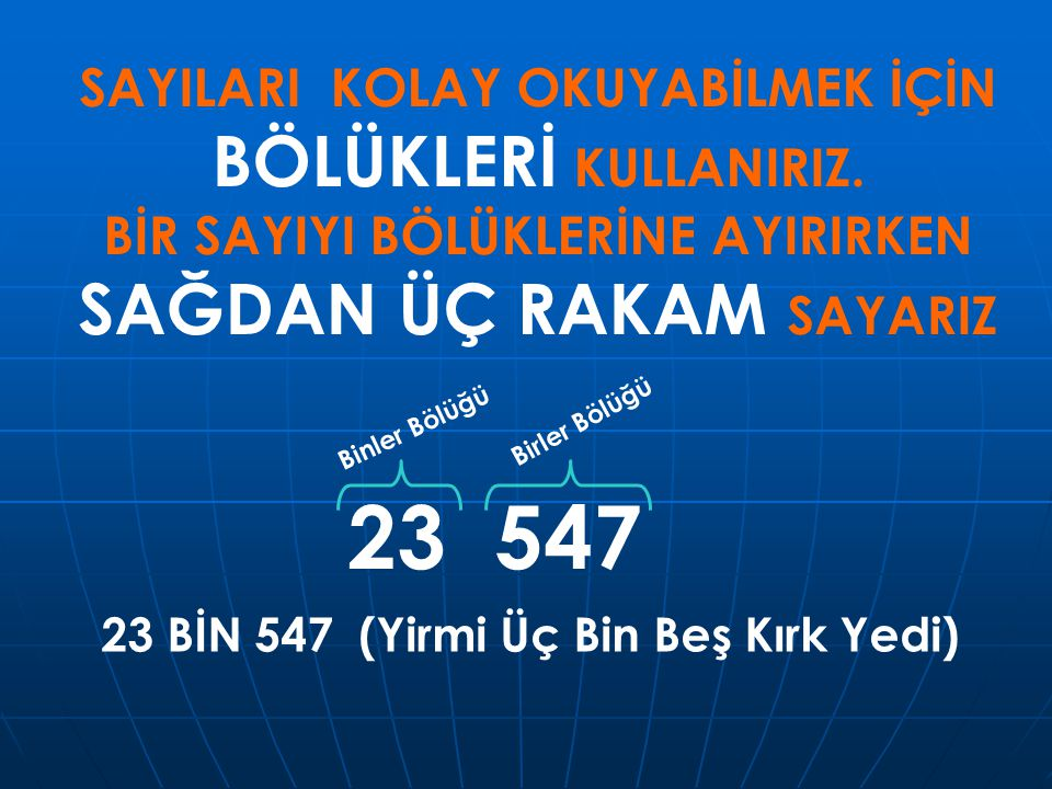 23 547 SAYILARI KOLAY OKUYABİLMEK İÇİN BÖLÜKLERİ KULLANIRIZ.