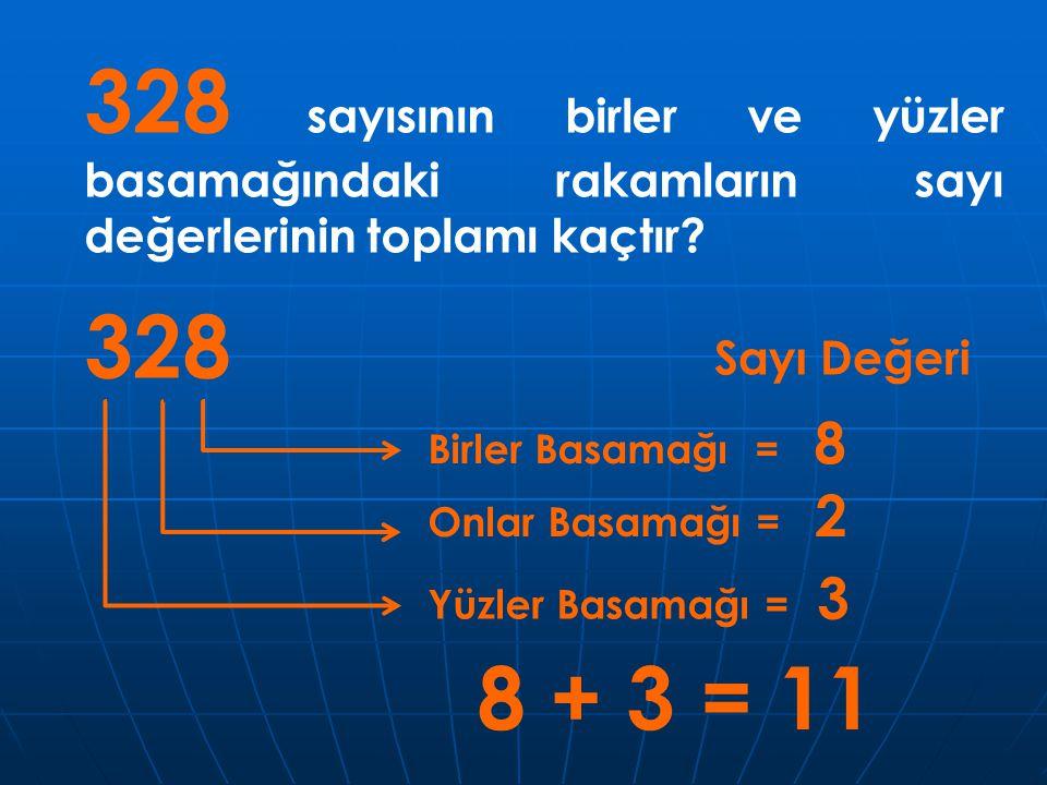 328 sayısının birler ve yüzler basamağındaki rakamların sayı değerlerinin toplamı kaçtır
