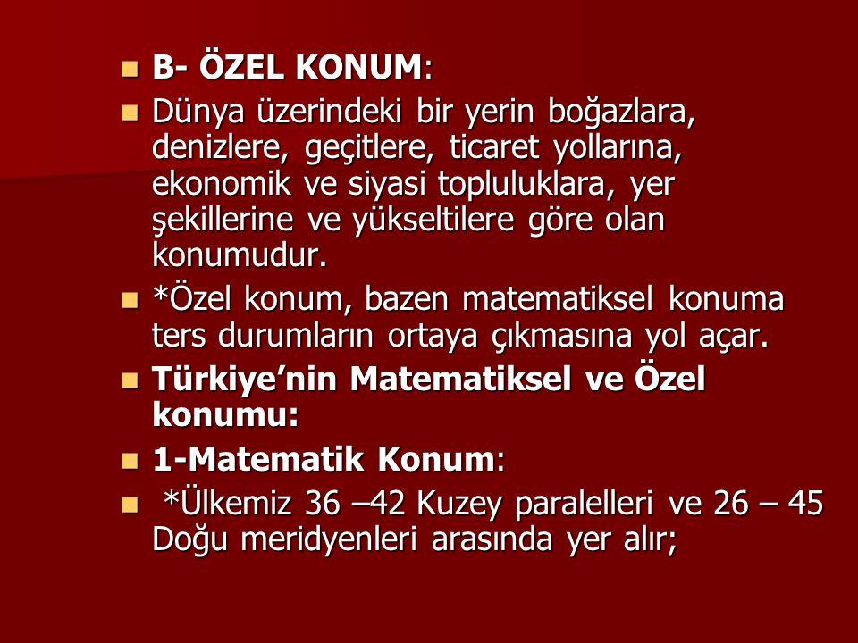 B- ÖZEL KONUM: