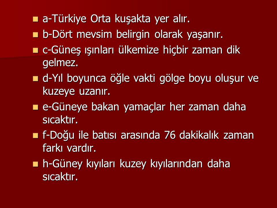 a-Türkiye Orta kuşakta yer alır.